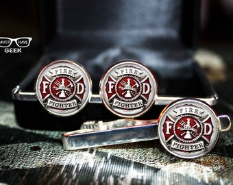 Fire Fighter Cufflinks SET, Fire Dept cuff links and tie clip,  firefighter  tie clip and cufflinks