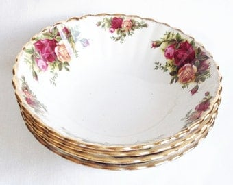 Four cereal bowls - Old Country Roses - Royal Albert breakfast dishes