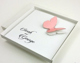 Butterfly Invitations, Pink Butterfly Wedding Invitations, Love Wedding Invitations, Elegant Wedding Invitations, Butterfly, 1 INVITATION