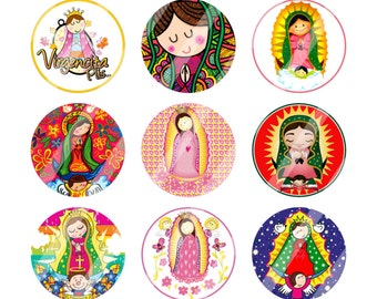 Virgencita plis 1 inch digital bottle cap images, Perfect for hairbow, pendants, buttons,  scrapbooking and more