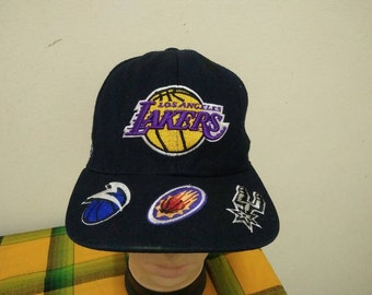 Rare Vintage LOS ANGELES LAKERS and nba contender Teams Logo Cap Hat Free size fit all
