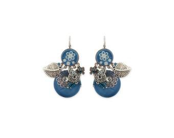 Blue mother of Pearl Flower Earrings