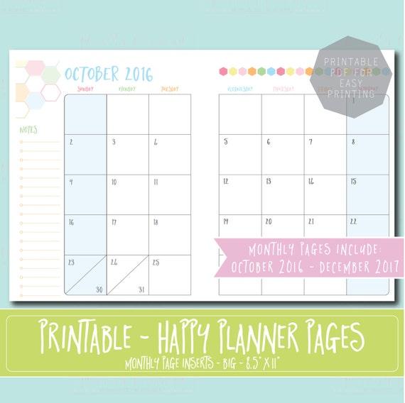 Happy Planner Calendar Refills : Happy planner printable monthly refills inserts