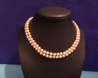 "Vintage 6.5MM Pearl 15"" Necklace With Bead Clasp"