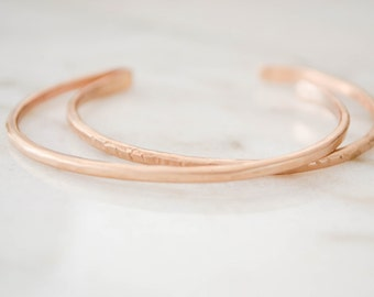 Stacking Cuff Bracelets | Shimmer Bronze Skinny Cuff | Gifts for Her | Hammered Stacking Bracelets | Thin Gold Cuffs