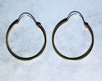 14 Karat Gold Hoop Earrings with Loop 28mm 1.125 in diameter
