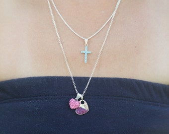 Sterling Silver Crystal Cross Necklace