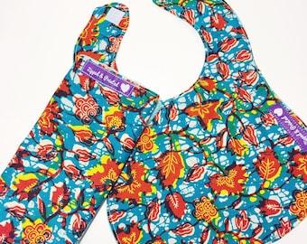 Baby Blue Burp and Bib Set // African Print Burp Cloth and Bib for Baby // Blue and Red Baby Burp and Bib