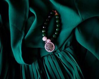 Glass Beaded yogi bracelet with calligraphy charms