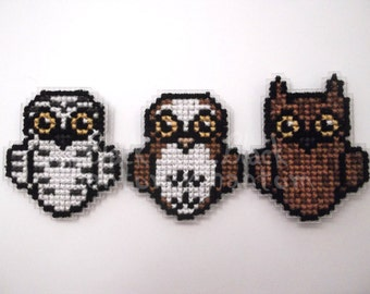 Cross stitched Owl Badges
