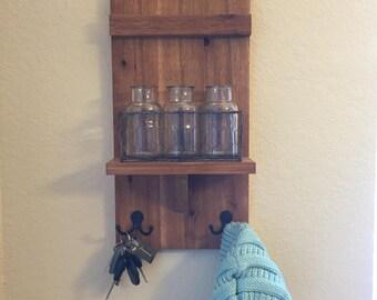 Wall Shelf with Hooks, Handmade/Stained