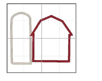 Barn and Silo applique 4x4