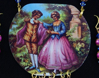 Vintage couple-necklace and matching earrings-multi colors-romantic