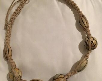 Handmade hemp necklace with wood beads