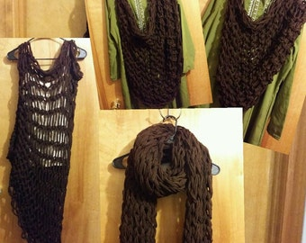 Knitted Multi-style scarf - Dark Brown -  FREE SHIPPING in U.S.