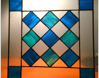 Stained Glass Turquoise Nine Square with Borders.