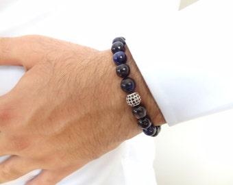 EXPRESS SHIPPING,Navy Blue Tiger Eye Bracelet, 18k Black Rhodium Plated, Swarovski Ball Bracelet,Meditation,Protective,Strength Bracelet