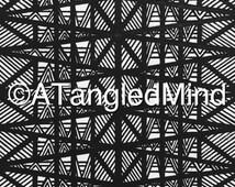 Original Zentangle Tribal Patterns Ink Drawing, Instant Digital Download / Printable Adult Coloring Page