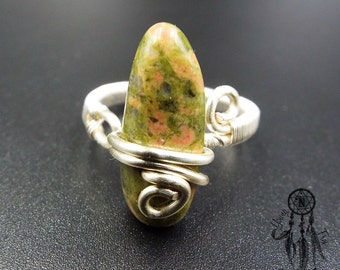 Unakite Ring/Adjustable Sterling Silver Ring/Green Stone/Silver Plated Wire/Raw Gemstone/Crystal/Boho/Bohemian/Hippie/Gift idea for her
