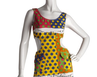 MOSCHINO Jeans Vintage Cotton Polka Dot 1990s Cut Out Dress UK 8