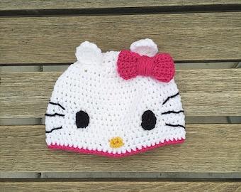 Hello Kitty ® Inspired Crocheted Hat