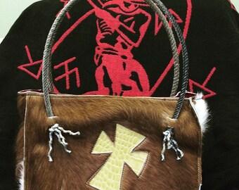 Custom hair on cowhide purses