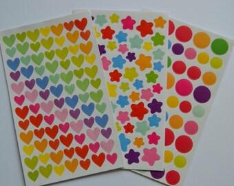 Rainbow stickers-1 sheet-hearts, stars or circles