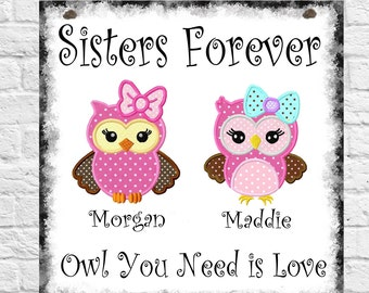 Personalised Family Owl Tree Hanging Plaque Siblings Sisters Brothers Brother Sister Forever Christmas Birthday Gift Present