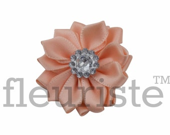 PEACH Ribbon Flower With rhinestone center, Satin flower, Fabric rose, Rolled Rosette, Wholesale Flower, Fabric Flower, Satin Flower, 3pc