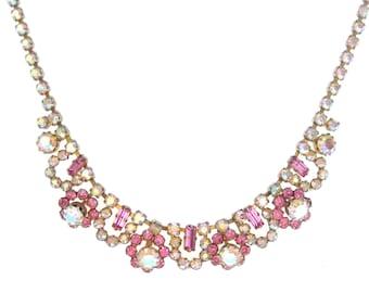 Vintage 1950s Necklace | Vintage Necklace | Aurora Borealis Necklace | Flower Necklace | Statement Necklace | Pink Necklace