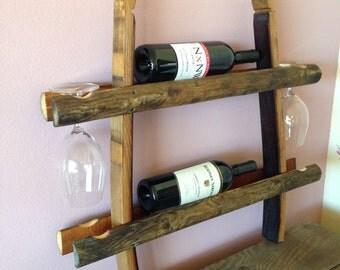 Wine Barrel Stave and Log Wine Rack, Holder,Storage, Ladder