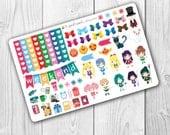 Sailor Moon Deco Sheet, Planner Stickers, Erin Condren Vertical, ECLP, Anime, Magical Girl, Colorful, Kawaii