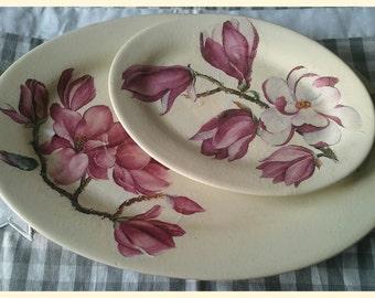 Ceramic plates magnolia