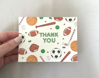 Sports Birthday Thank You Cards // Sports Birthday Cards // Birthday Party Cards // Childrens Birthday Thank You Cards (B3)