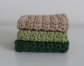 Knit Dish Cloths- Green Dish Cloths- Cotton Dish Rag- Dish Towels- Wash Cloth - Choose your color - Set of 3 dish cloths, crochet dish cloth