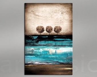 Giclee Abstract Fine Art Print -turquoise brown beige - abstract - trees 48x32