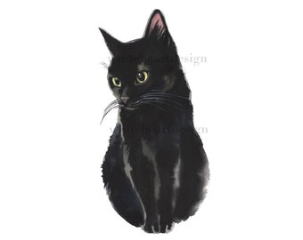 Black Cat Clipart  Hand Painted Watercolor Digital Print Files Clip Art Instant Download Images Painting Pictures Art Commercial Use
