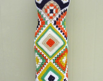 Granny Square Crochet Maxi Halter Dress