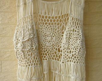 Hippie Fringe Crochet Vest Beach Cover Up