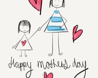 Mother and daughter, Mother's Day card
