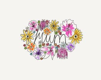 Watercolour floral mum card