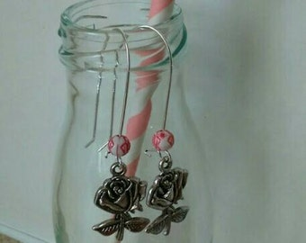 SALE- Rose and beaded tunnel drop earrings.