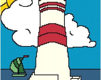 Lighthouse 8x10 cross stitch pattern