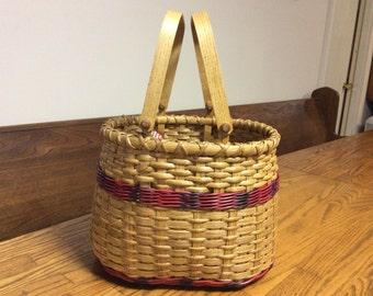 Homemade reed & wood basket