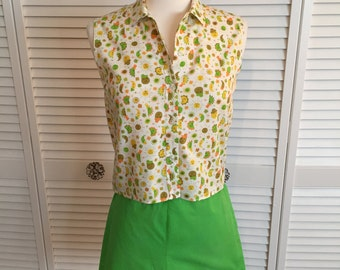 1950s cotton novelty print sun and moons shirt and short set