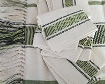 TABLECLOTH cotton organic, green, water accompanied by 6 towels, gift, home and furnishings, Interior, original decoration idea