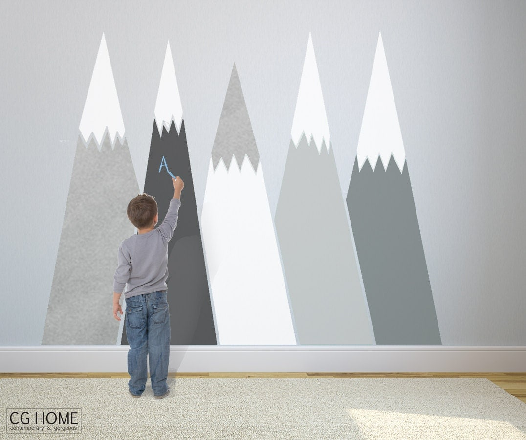 Nursery Mountain Wall Art Headboard View Wall Decal For Kids