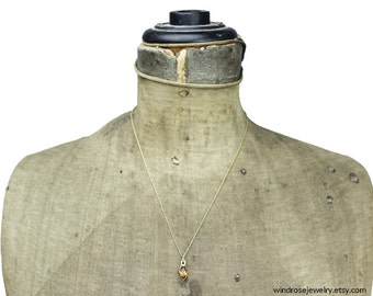 K & L Gold and Citrine Pendant Necklace, Kordes and Lichtenfels Gold Pendant Necklace, Thin Gold Chain Necklace