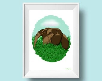 printable wall art, digital download, anteater drawing, rainforest print, baby Illustration, painting, kids wall art, nursery decor
