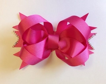 Pink stacked boutique bow toddler hair bow kids hair bow children's hair bows girls hair bow teens hair bow boutique stacked hairbow